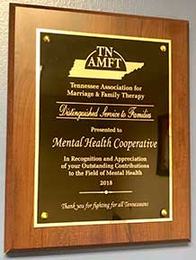 Tennessee Licensed Professional Counselor Association, TLPCA, Tennessee Association for Marriage and Family Therapy, TNAMFT, Tennessee Association for Marriage and Family Therapy, 2018 Distinguished Service to Families,